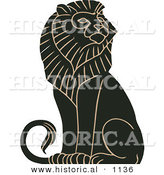 Historical Vector Illustration of a Black and Brown Mature Majestic Male Lion Sitting by Al