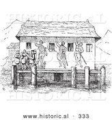 Historical Vector Illustration of a Boat Station Dock - Black and White Version by Al