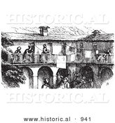 Historical Vector Illustration of a Busy Hotel Full of People - Black and White Version by Al