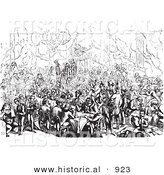 Historical Vector Illustration of a Busy Hotel Restaurant Full of Diners - Black and White Version by Al