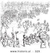 Historical Vector Illustration of a Busy Scene of People - Black and White Version by Al
