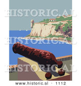 Historical Vector Illustration of a Cannon over the Harbor near the Fort San Felipe Del Morro in Puerto Rico by Al