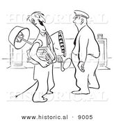 Historical Vector Illustration of a Cartoon Guard Staring at a Happy Man Carrying His Office Belongings - Black and White Outlined Version by Al