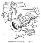 Historical Vector Illustration of a Cartoon Husband and Wife Struggling with Flat Car Tire Repair - Black and White Outlined Version by Al