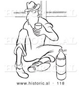 Historical Vector Illustration of a Cartoon Man Drinking Water on His Break - Black and White Outlined Version by Al