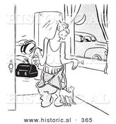 Historical Vector Illustration of a Cartoon Man Getting Ready for Work While His Wife Hands Him Lunch and His Creepy Car Pool Friend Waits for Him Outside - Outlined Version by Al