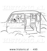 Historical Vector Illustration of a Cartoon Man Smoking a Cigar in a Car with the Door Open - Black and White Outlined Version by Al
