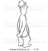 Historical Vector Illustration of a Cartoon Man Standing and Staring with His Hands Behind His Back - Black and White Outlined Version by Al