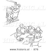 Historical Vector Illustration of a Cartoon Office Worker Hanging from a Window at a Meeting - Black and White Outlined Version by Al