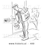 Historical Vector Illustration of a Cartoon Person Reaching out of a Mail Slot Towards a Postal Worker - Black and White Outlined Version by Al