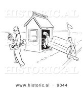 Historical Vector Illustration of a Cartoon Real Estate Agent Counting Cash After Selling His Office to a Client - Black and White Outlined Version by Al