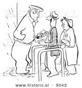 Historical Vector Illustration of a Cartoon Security Guard Inspecting a Happy Person's Lunch Box at an Entrance - Black and White Outlined Version by Al