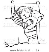 Historical Vector Illustration of a Cartoon Styled Girl Sleeping in a Bed - Black and White Outlined Version by Al
