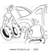 Historical Vector Illustration of a Cartoon Wife Trying to Help Her Husband Fix a Car with Flat Tires - Black and White Outlined Version by Al