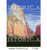 Historical Vector Illustration of a Cliff in Zion National Park, Utah by Al