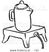 Historical Vector Illustration of a Coffee Percolator on a Warmer - Black and White Outlined Version by Al