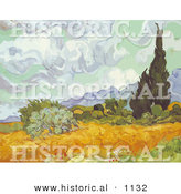 Historical Vector Illustration of a Cornfield with Cypresses - Vincent Van Gogh Painting by Al
