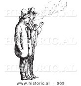 Historical Vector Illustration of a Couple Men Smoking Cigarettes - Black and White Version Couple Men Smoking Cigarettes by Al
