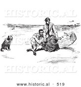 Historical Vector Illustration of a Couple with Dog on a Beach - Black and White Version by Al