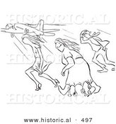 Historical Vector Illustration of a Creative Cartoon Woman Happily Wearing a Dress and Walking Through Strong Gusts of Wind While Others Struggle - Black and White Outlined Version by Al
