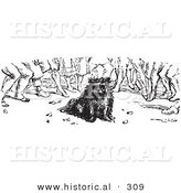 Historical Vector Illustration of a Crowd of People Around a Dog - Black and White Version by Al