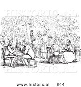 Historical Vector Illustration of a Crowd of People at a Garden Cafe - Black and White Version by Al