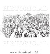 Historical Vector Illustration of a Crowd of People at a Pub - Black and White Version by Al