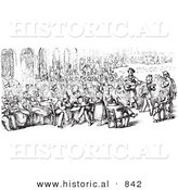 Historical Vector Illustration of a Crowd of People at Piazza San Marco - Black and White Version by Al