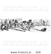 Historical Vector Illustration of a Crowd of People Chasing a Thieving Dog That Stole Sausage - Black and White Version by Al