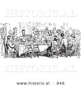 Historical Vector Illustration of a Crowd of People Dining at a Table - Black and White Version by Al