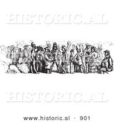 Historical Vector Illustration of a Crowd of People Riding on a Rhine Boat - Black and White Version by Al