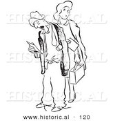 Historical Vector Illustration of a Curious Cartoon Woman Standing Behind a Tired Worker Man Looking at His Time Sheet - Black and White Outlined Version by Al