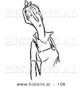 Historical Vector Illustration of a Curious Cartoon Woman Staring at Something - Black and White Outlined Version by Al