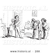 Historical Vector Illustration of a Demanding Hotel Guest - Black and White Version by Al