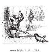 Historical Vector Illustration of a Dog Challenging a Soldier with a Rifle - Black and White Version by Al