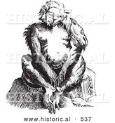 Historical Vector Illustration of a Fantasy Ape Creature Sitting and Staring - Black and White Version by Al