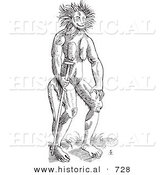 Historical Vector Illustration of a Fantasy Cercopithecus Wild Man Creature - Black and White Version by Al