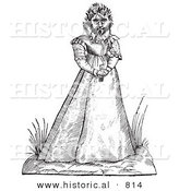 Historical Vector Illustration of a Fantasy Hairy Woman Maphoon Creature - Black and White Version by Al