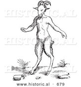 Historical Vector Illustration of a Fantasy Satyr or Pan Creature - Black and White Version by Al