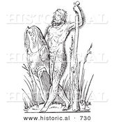 Historical Vector Illustration of a Fantasy Savage Hairy Man Creature - Black and White Version by Al