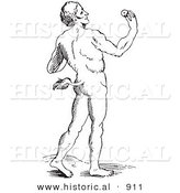 Historical Vector Illustration of a Fantasy Tailed Man Creature - Black and White Version by Al