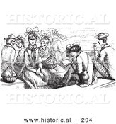 Historical Vector Illustration of a Group of People on a Boat - Black and White Version by Al