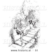 Historical Vector Illustration of a Guard Dog Chasing Men Running Fast - Black and White Version by Al