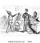 Historical Vector Illustration of a Guard Pointing out a Man - Black and White Version by Al