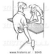 Historical Vector Illustration of a Happy Cartoon Male Worker Flirting with an Attractive Girl Behind a Counter - Black and White Outlined Version by Al