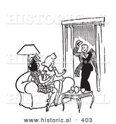 Historical Vector Illustration of a Happy Cartoon Man Greeting Two Young Ladies Sitting on a Couch in a Living Room in - Black and White Version by Al