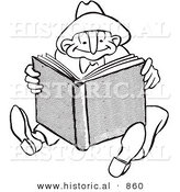 Historical Vector Illustration of a Happy Cartoon Man Reading a Book - Black and White Outlined Version by Al