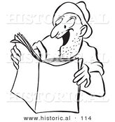 Historical Vector Illustration of a Happy Cartoon Man Reading an Exciting Story in a Magazine - Black and White Outlined Version by Al