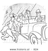 Historical Vector Illustration of a Happy Cartoon Morning Person Getting a Ride to Work with a Car Full of Grumpy People - Black and White Outlined Version by Al