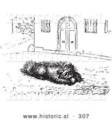 Historical Vector Illustration of a Happy Dog Eating Sausage - Black and White Version by Al
